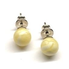 White amber earings