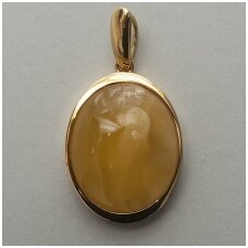 Dark Yellowish amber pendant with silver