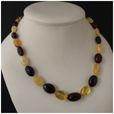 Yellow, brown and white amber necklace