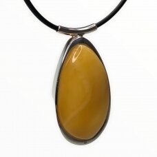 Yellow amber pendant with sterling silver