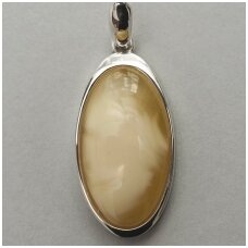 Yellow and white amber pendant
