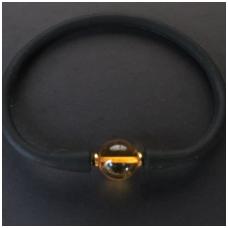 Black bracelet with amber