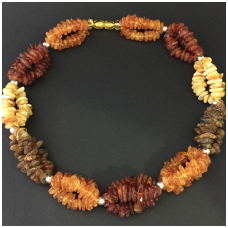 "Multicolour amber necklace ""Braids"""