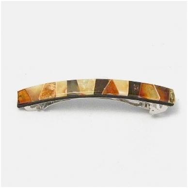 Metalinis plaukų segtukas, dekoruotas gintaro mozaika