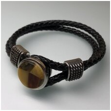 Leather bracelet with amber mosaic