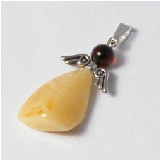 Yellowish-white amber pendant of angel