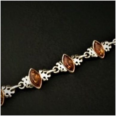 Silver bracelet with brown amber