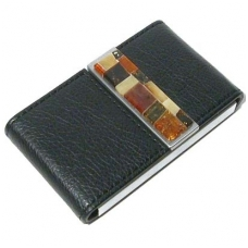 Card holder decorated with multicolour amber mosaic