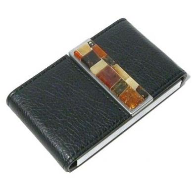 Vizitinių kortelių dėklas dekoruotas gintaru 5 vnt.