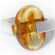 Honey color amber and silver ring