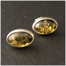 Green  amber earings with silver