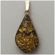 Green brown amber pendant with gold