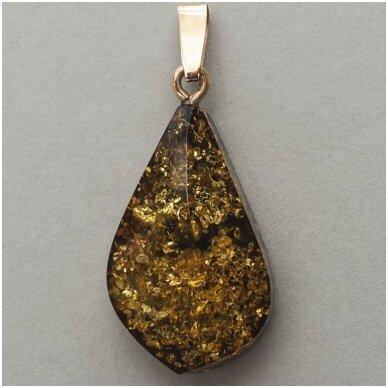 Žalsvai rudo gintaro pakabukas su auksu